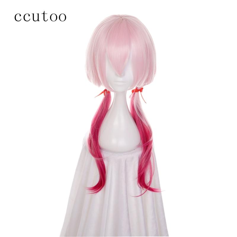 ccutoo 60cm Coronor Inori Pink Ombre Wig Synthetig Curly Hir ar gyfer Ffibr Gwres Ymwrthedd Gwres Cosplay Menywod