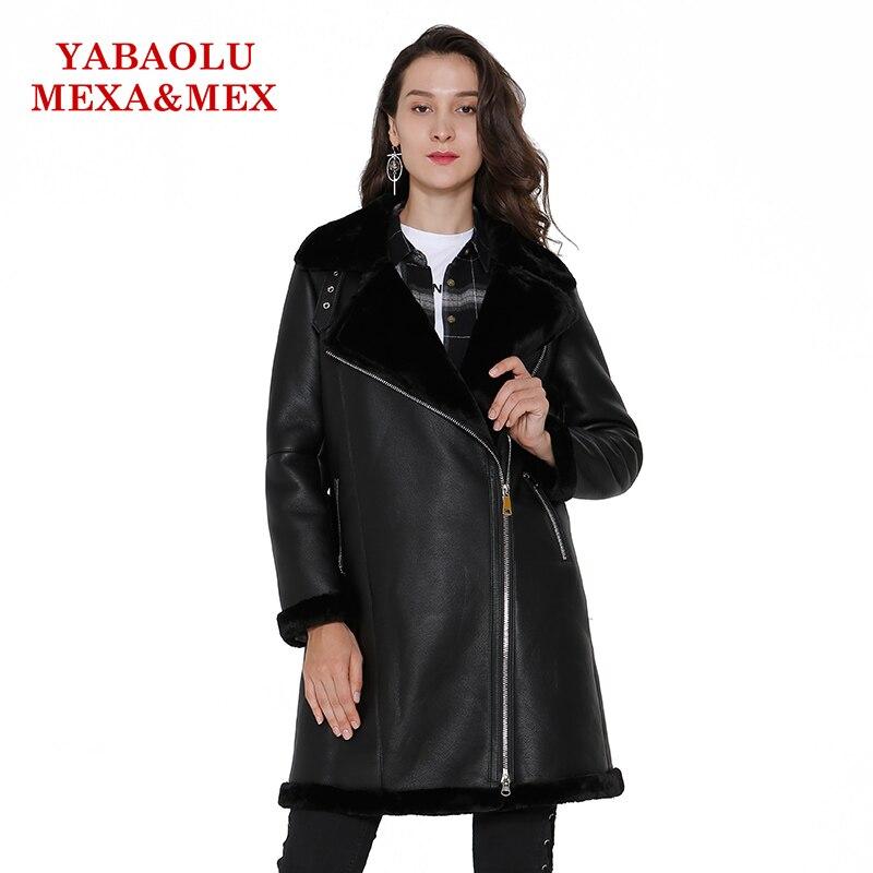 Модные Искусственная кожа Для женщин пальто куртки теплый длинное пальто из искусственной шерсти черный мех верхняя одежда дамы пальто жен...