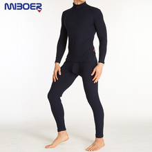 Thermal Underwear Sets MIBOER 2016 New Thermal Cotton Black Autumn Winter Rendering Clothing High Neck Mens Long Underwear Set