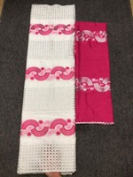 Cotton Lace White and pink Color African Swiss Cotton Lace Set in 2pcs Cotton Lace Swiss Fabric for Lady Dressing