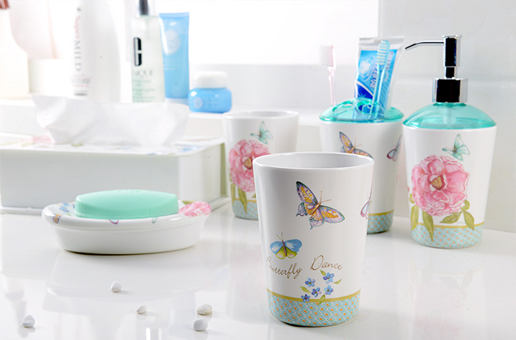 Will haute qualité 5 pièces/ensemble mélamine européenne salle de bain Set accessoires porte-brosse à dents Lotion bouteille savon plat cadeaux de mariage - 2