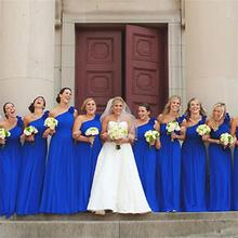 2015 Long Chiffon Navy Bridesmaid Dresses One Shoulder A Line Pleat Floor-Length Robe Demoiselle Honneur Biridesmaid Dresses