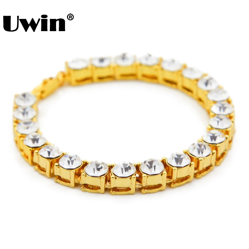 Uwin Mannen Hip Hop Iced Out Armband Glans 1 Rij 8MM Ronde Cut AAA CZ Cubic Zirconia Tennis Armbanden Heren Bling Bling Bangle