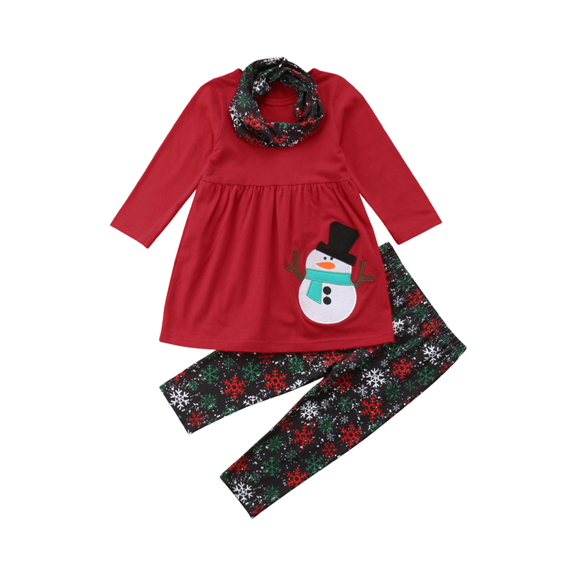 Christmas Outfits Kids Girl Clothing Children Clothes Long Sleeve Snowman T-shirts Tops Pants Scarf Boutique Girls Outfit Sets cute infant bbay girls plaid short pants clothes sets sleeveless tops scarf 3pcs outfit summer kids clothing set