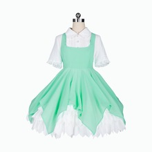 New Clear Card Clamp Cardcaptor Sakura Cosplay Costume Kinomoto Green Dress Halloween Adult Costumes for Women