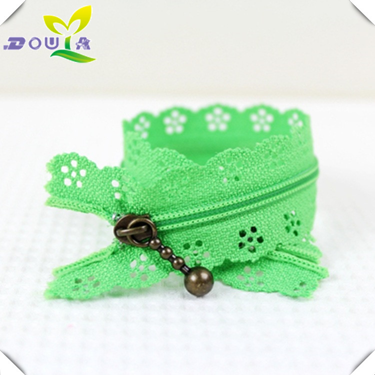 Factory direct 3 green nylon lace, lace zipper, 25cm clothing, suitcase and zipper