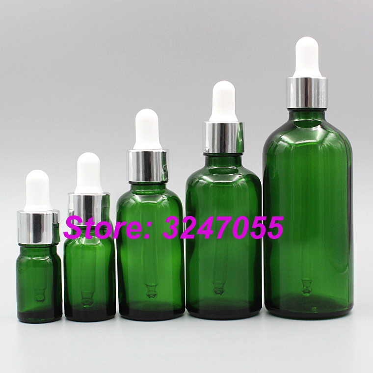 5/10/15/20/30/50/100ml Green Glass Empty Cosmetic Essential Oil Bottle, Glass Pipettes Dropper Vial, Aromatherapy Essence Bottle fcl wholesale 5 10 15 20 30 50 100ml empty brown glass essential oil bottle without cap