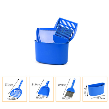 4 Pcs/Set Cat litter Box Plastic Kitty Litter Scoop Cat's Toilet Pets Cleaning Brush Set Goods For Pets 1