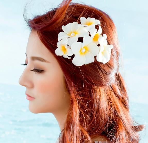 50pcs pearl Bali beach flower frangipani wedding hair clips  jewelry Korean bridesmaid accessories hairpin Hair clips for girls