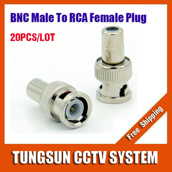 New 20pcs/lot BNC Male to RCA Female Coax Cable Connector Adapter F/M Coupler for CCTV Camera 5pcs bnc male to rca male coax cable connector adapter f m coupler for cctv camera cable connector accessories