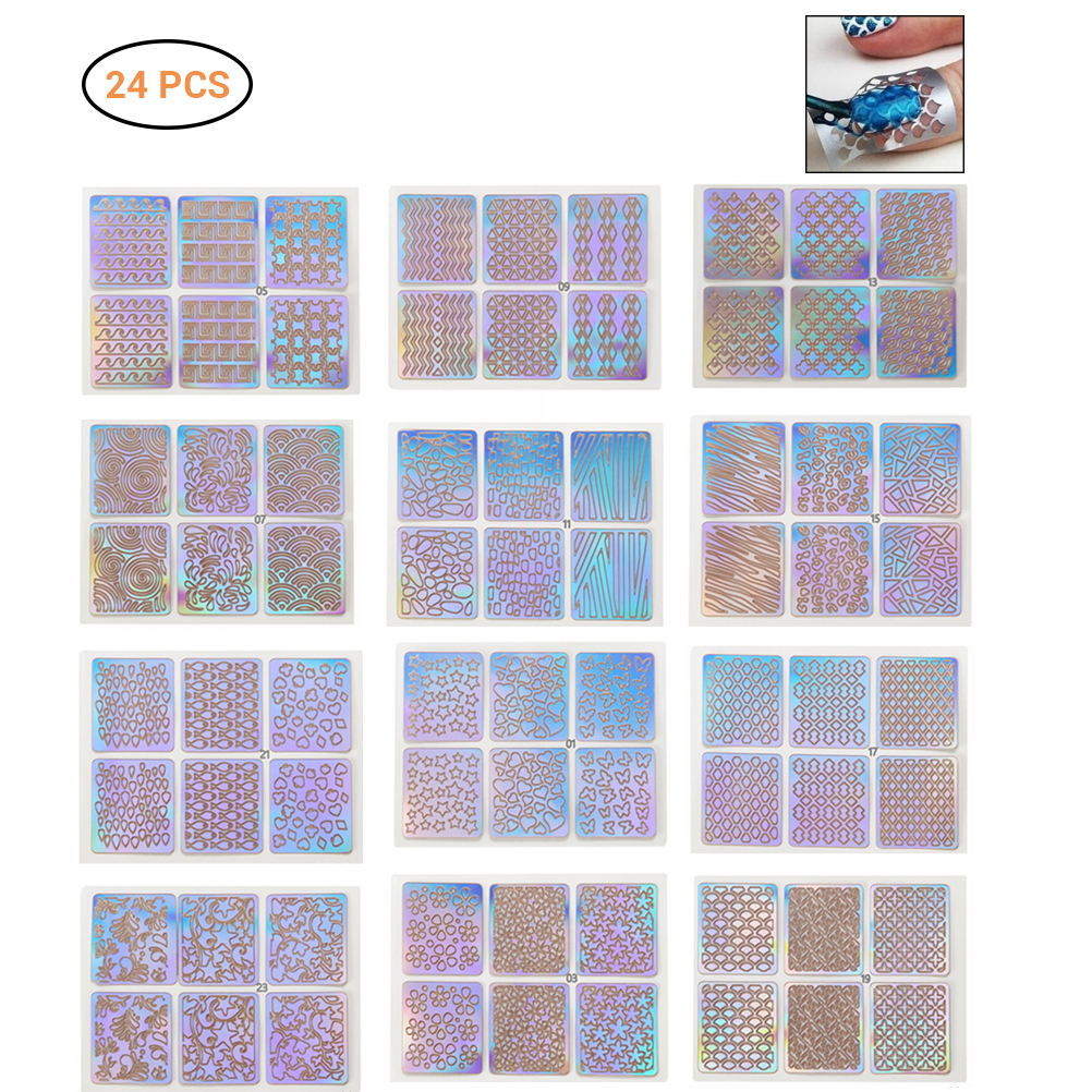 Image 5 - 24 Sheets DIY Nails Stamping Template Nail Stickers Irregular Grid Stencil Reusable Nail Art Vinyls Hollow Stickers NailStickers-in Stickers & Decals from Beauty & Health