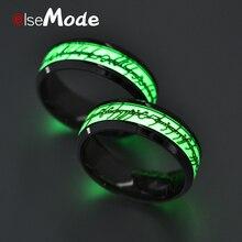 ELSEMODE черное титановое стальное светящееся кольцо Властелин одного светящееся в темноте обручальные кольца для мужчин и женщин ювелирные изделия