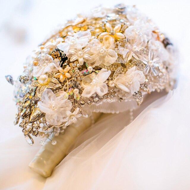 Невесты Падение Брошь букет на заказ Свадебные Цвета Слоновой Кости и белый Золотые Украшения Невесты свадебные букеты Teardrop цветы Из Органзы