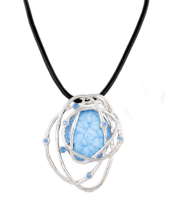 Top Quality Denim blue resin statement Necklaces Alloy Choker Neckaces Fashion Jewelry Wholesale NK9416