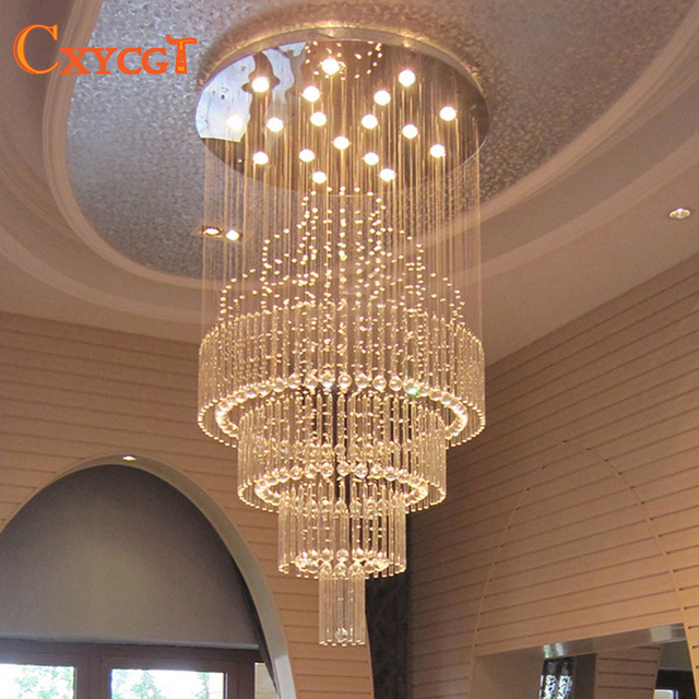 Crystal chandelier living room round chandelier staircase light long ...