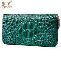 Green Women Wallets Crocodile Head and Tail Wallet Purse for Women Genuine Leather Alligator Pattern Long Wallet Luxury