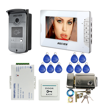 """FREE SHIPPING Wired 7"""" Color Monitor Video Door Phone Intercom System Outdoor RFID Doorbell Camera + Electrical Mechanical Lock"""