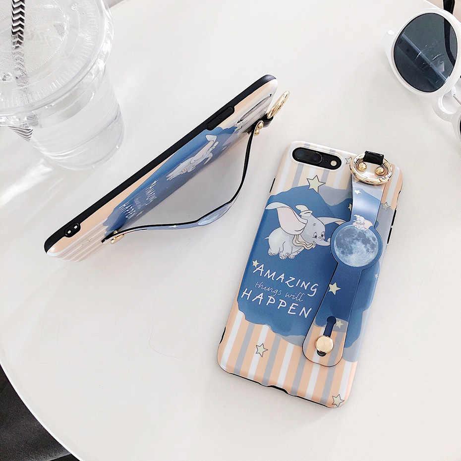 דמבו מקרה עבור iPhone 11 פרו X XR XS מקס חמוד קריקטורה יד רצועת טלפון מחזיק מקרים עבור iPhone 7 8 6S 6 בתוספת כיסוי חזרה Funda
