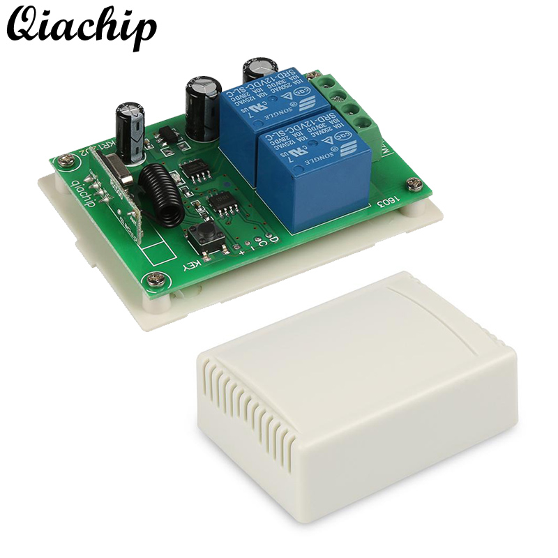 QIACHIP 433 Mhz Wireless Remote Control Switch DC 12V 2CH Learning Button RF Relay Receiver For Smart Home Switch Module Diy Kit