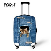 2016 New Design Denim Animals Printed Luggage Protective Covers Cute Pet Cat Suitcase Cover For 18