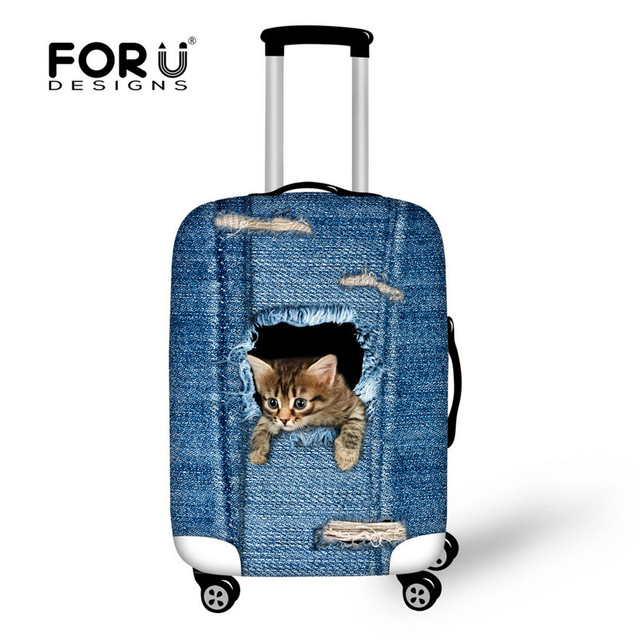 FORUDESIGNS Fashion Blue Denim Animals Cute Cat Suitcase Protective Waterproof Covers For 18-30 Inch Travel Case Elastic Thick
