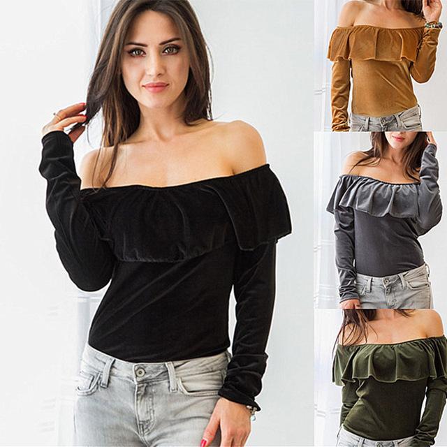 Kaywide 2016 nueva otoño mujeres tops de terciopelo serie sexy hombro tops tees invierno t shirt para la mujer a16410