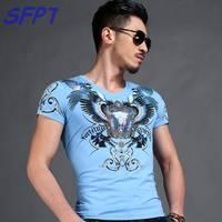 2017 Summer Mens Casual T Shirts V Neck White Monster Print Brand Man S Short Sleeve
