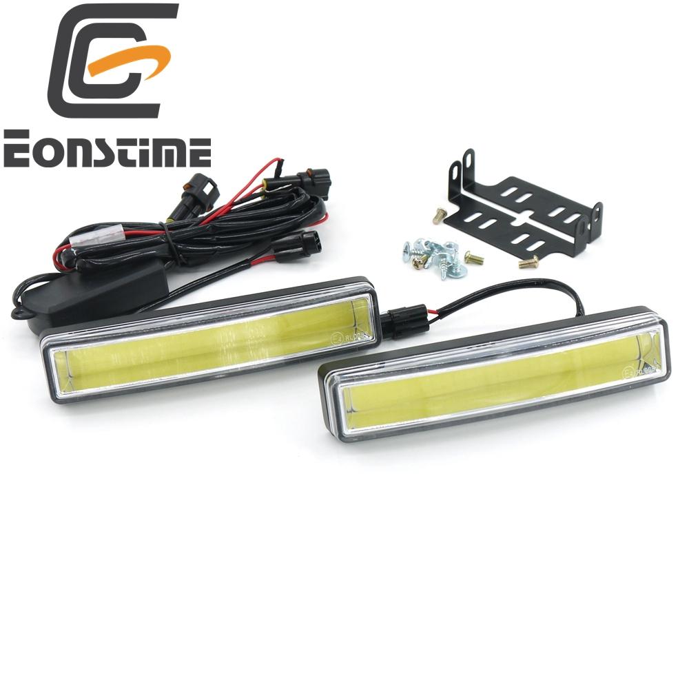 Prix pour Eonstime 2 pcs 15 cm COB LED Véhicules De Voiture Éclairage Diurne DRL L'installation Support Blanc Lumière Lampe 12 V/24 V Off fonction E4