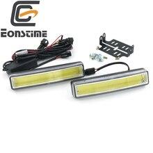 Eonstime 2 unids 15 cm COB LED Vehículos Soporte de Instalación Super White Car Luz Corriente Diurna DRL Luz de Advertencia de La Lámpara 9 V-30 V