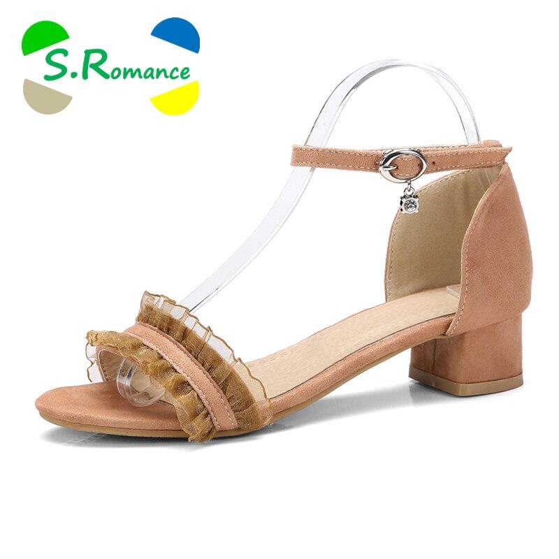 S. romance 여성 샌들 플러스 크기 34 43 새로운 패션 여성 중반 스퀘어 발 뒤꿈치 펌프 office 여성 신발 살구 블랙 브라운 ss010-에서중 힐부터 신발 의  그룹 1