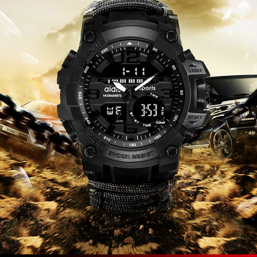 Top Brand AIDIS Men Military Watch Fashion Outdoor Compass Waterproof LED Quartz Clock Sport Watch Male relogios masculino