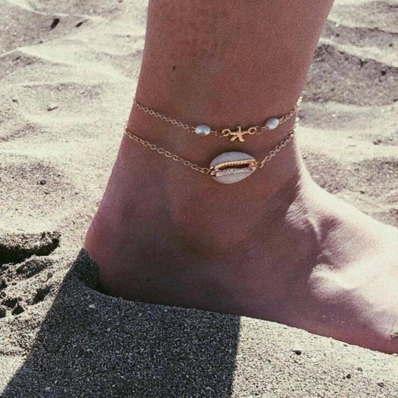 New Anklet Fashion Beach Accessories Seashells Imitation Pearl Multilayer Women's Anklet Hot Sale Jewelry Wholesale