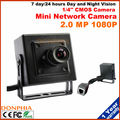 Free shipping 2.0 Megapixel Mini IP Camera 1080P Size 42x42mm Support Onvif Internet Surveillance Camera black case Night vision