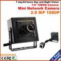 O envio gratuito de 2.0 Megapixel Mini Câmera IP 1080 P Tamanho 42x42mm Suporte Onvif Internet Surveillance Camera preto caso visão Noturna