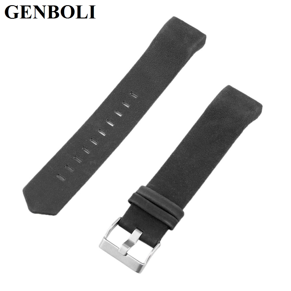 GENBOLI Genuine Leather Wrist Band Watch Strap For Fitbit Charge 2 Smart Bracelet Replace Watchband With Steel Buckle 18mm genuine leather watchband for withings activite steel pop smart watch band wrist strap plain grain belt bracelet tool