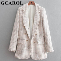 GCAROL New Collection Autumn Winter Worsted Blazer Notched Collar Open Stitch Buttons Design OL Work Suit Outwear