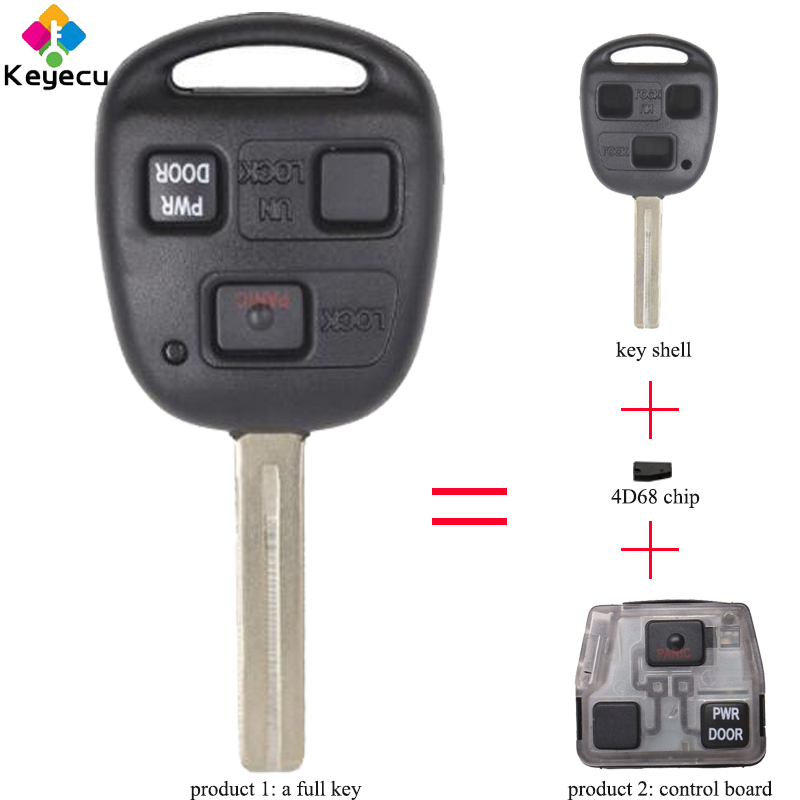 2x New Replacement Keyless Transponder Ignition Key For Lexus TOY50-PT 4D68