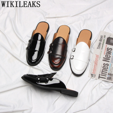 Half-Shoes Leather Slippers Mule Double-Monk-Strap Mens for Masculino Erkek Spor Ayakkabi