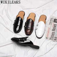 Pół buty dla mężczyzn mule masculino męskie skórzane kapcie podwójne mnich pasek buty płaskie buty mężczyźni erkek spor ayakkabi buty meskie