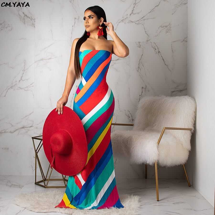 2019 new women colorful stripes strapless bodycon mermaid maxi midi dress beach party club long dresses beach outfit H6049
