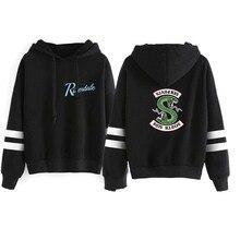 New Riverdale Hoodie Sweatshirts South Side Serpents Women Long Sleeve Striped Pullover Tops Harajuku Streetwear