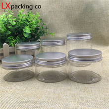 30 pcs Free Shipping 80 100 150 180 250 g Transparent Clear plastic Packaging Bottles silver Aluminum Cap Spice Bank jars