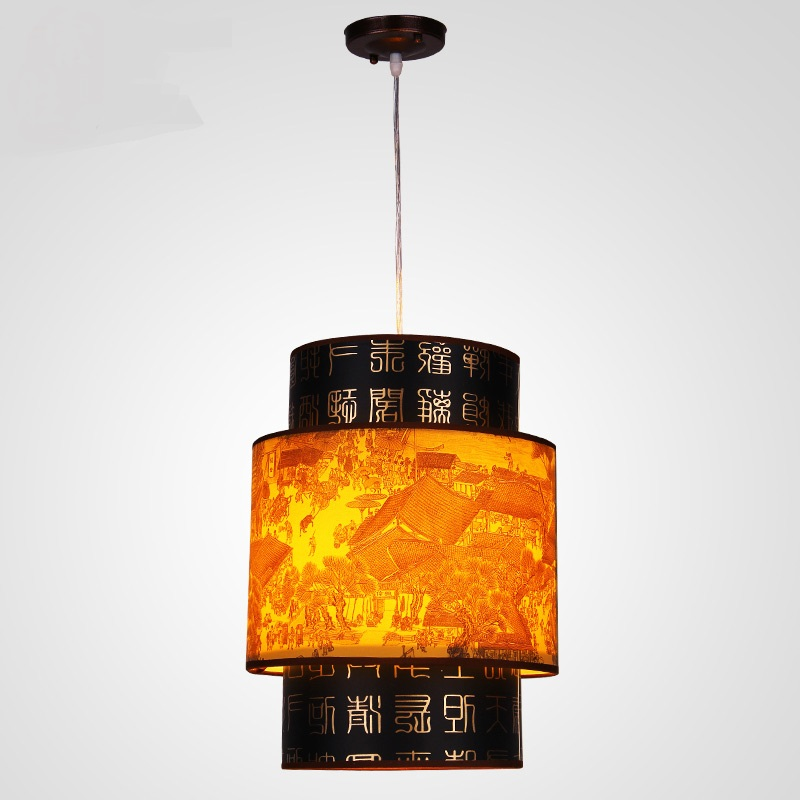 Chinese style WClassical Chinese restaurant meal Pendant Light hanging imitation sheepskin lamp lighting lamp retro dining ZS35 restaurant cafe meal of lamps and lanterns hanging lamp is acted the role of single head 3 lemon meal hanging lamp