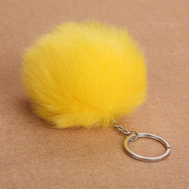 Pequeno bonito Bola De Pêlo Colorido Cadeia Saco Chave Fivela Senhora De Pele de Cabelo Ornamentos de Automóveis para As Mulheres Jovens do Sexo Feminino Sacos Decorados