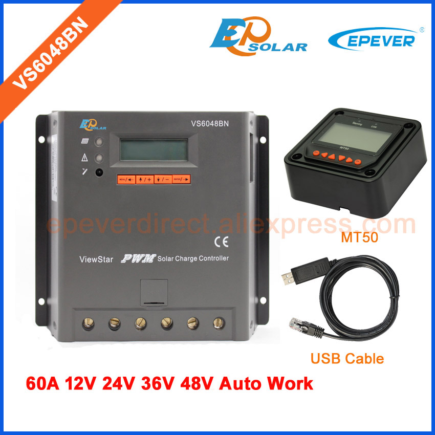 48v/60A PWM solar voltage controller ViewStar series EPEVER 60AMP VS6048BN with USB cable and MT50 meter free shipping solar charging regulator pwm vs2024bn 20a 20amps with usb cable and mt50 remote meter for real time monitor epever epsolar