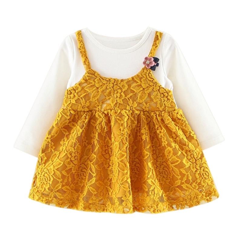 Baby Dress Clothing Long Sleeve Newborn Baby Girl Dress Cute Patchwork Baby Birthday Dress Infant Girl Dresses 0-24Month