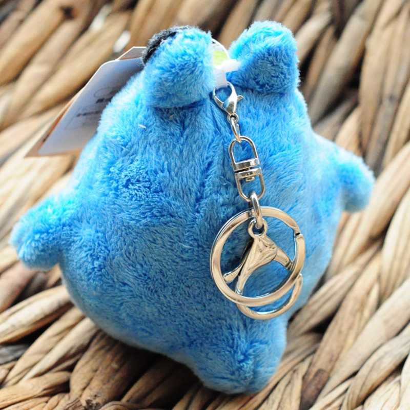 Totoro Lucu Panda Hewan Mewah Hadiah Mainan untuk Anak Plush Boneka Gantungan Kunci Tas Liontin Dekorasi Kecantikan Biru Abu-abu Mainan
