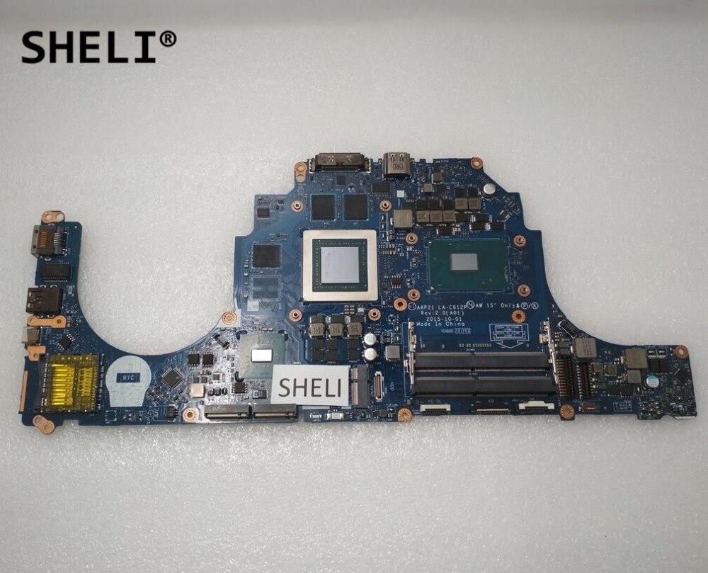 SHELI For Dell Alien-ware 17 R3 15 R2 Motherboard With I7-6700HQ GTX970M 3GB LA-C912P
