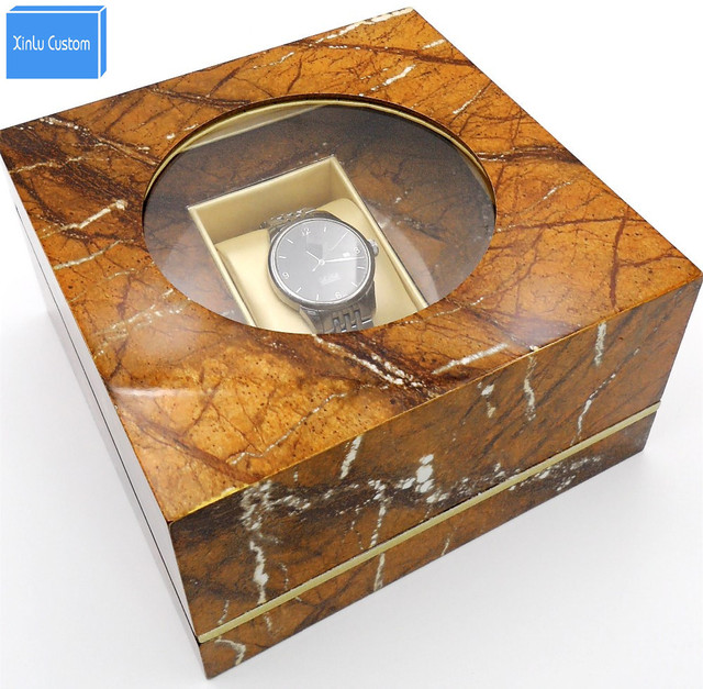 Luxury Creative Square Brown Irreguare Lid Men's Wristwatch Boxes Holder Display Window Boxes for Watches,Wholesale&Custom Logo
