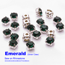 Sew on Rhinestones Emerald Silver claw SS12 SS16 SS22 SS28 SS32 SS38  144pcs use for DIY accessories  free shipping